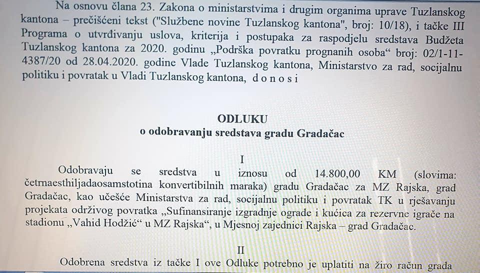 """Vlada TK-a za stadion """"Vahid Hodžić"""" u Rajskoj odobrila 14 800,00 KM"""